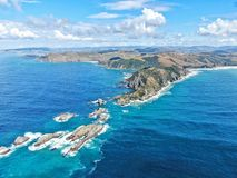Aerial view of nugget point shore with lighthouse. Kaka point beach stock photos