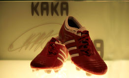 Kaka's shoes. A shot of Kaka's shoes in the Real Madrid museum Stock Images