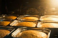 Kaka som lagas mat i ugn Arkivfoto
