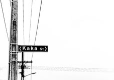 Kaka street sign on the pole. Gray scale royalty free stock photo