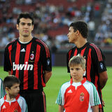 Kaka and Viudez. BUDAPEST - APRIL 22: Kaka and Viudez in the friendly football game (Hungarian League Team vs AC Milan) April 22, 2009 in Budapest, Hungary stock images