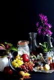 Kakaingredienser och höstfrukter arkivbild