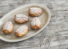 Kakamadeleines med pudrat socker på den ovala plattan Royaltyfri Bild