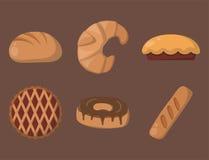 Kakan bakar ihop illustrationen för vektorn för smaklig för mellanmålet läcker bakelse för choklad hemlagad den ljusbruna vektor illustrationer