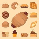 Kakan bakar ihop illustrationen för vektorn för smaklig för mellanmålet läcker bakelse för choklad hemlagad den ljusbruna stock illustrationer