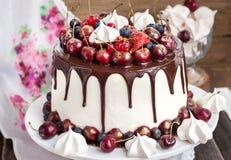 Kakan dekorerade med choklad, marängar och nya bär Royaltyfri Foto