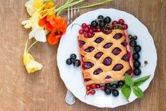 Kakan med bärdriftstopp tjänas som med den nya röda och svarta vinbäret Arkivfoton