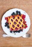 Kakan med bärdriftstopp tjänas som med den nya röda och svarta vinbäret Royaltyfri Bild