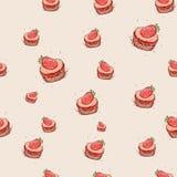 Kakan med den drog jordgubbehanden skissar på rosa bakgrund seamless vektor för modell Arkivfoton