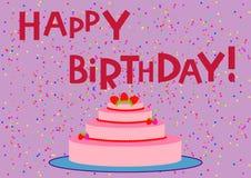 Kakan med jordgubbar och den lyckliga födelsedagen för ord Fotografering för Bildbyråer