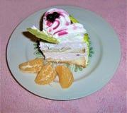 Kakan med vit kräm, ett kex, bevattnas det från över med blåbärdriftstopp med naturliga bär royaltyfria bilder