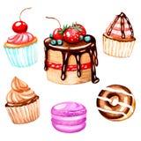 Kakan muffin, macaron, munk med choklad är handgjord med vattenfärger För tryck på kläder textiler, tapet, för meny D vektor illustrationer