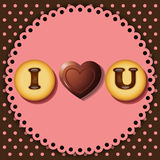 Kakan och choklad med ord älskar jag dig Arkivfoto
