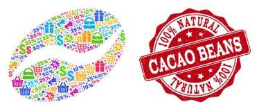 Kakao Bean Collage av den mosaiska och texturerade skyddsremsan för försäljningar vektor illustrationer