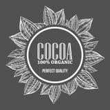 Kakao, Kakao Handhand gezeichnete Kranzbotanik-Vektorillustration Dekoratives Gekritzel der Kakaos Stockbilder