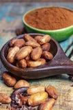 Kakao lub cacao fasole i bourbonu waniliowy kij, u?ywa? w i w piekarni gor?cej czekolady napoju, czekoladzie, mas?o fotografia stock