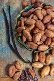 Kakao lub cacao fasole i bourbonu waniliowy kij, u?ywa? w i w piekarni gor?cej czekolady napoju, czekoladzie, mas?o zdjęcie stock