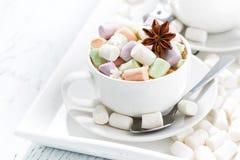 kakao med färgrika marshmallower och kryddor i vita koppar Fotografering för Bildbyråer