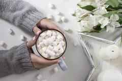 Kakao med marshmallower i kvinnlighänder på vit bakgrund Arkivbild