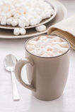 Kakao med mini- marshmallower Fotografering för Bildbyråer