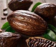 Kakao strąki i kakaowe fasole na drewnianym stole obrazy stock
