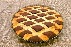 Kakao tort z chałupa sera gretingiem Zdjęcia Stock