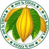 100% kakao - wektoru znaczek Obrazy Stock