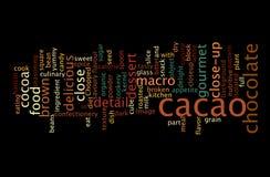Kakao-Wort-Wolken-Konzept-Bild stockbilder