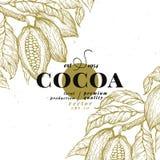 Kakaobohne-Baumdesignschablone SchokoladenKakaobohnelogo Vektorhand gezeichnete Abbildung Weinlesearthintergrund Stockfoto