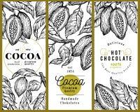 Kakaobohne-Baumfahnen-Schablonensatz SchokoladenKakaobohnehintergrund Vektorhand gezeichnete Abbildung Abbildung der roten Lilie Stockbilder