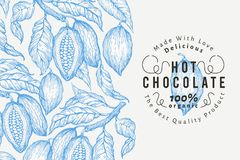 Kakaobohne-Baumfahnenschablone SchokoladenKakaobohnehintergrund Vektorhand gezeichnete Abbildung Abbildung der roten Lilie Stockbild