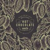 Kakaobohne-Baumfahnenschablone SchokoladenKakaobohnerahmen Vektorhand gezeichnete Abbildung Weinlesearthintergrund Stockbilder