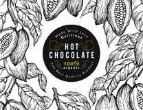 Kakaobohne-Baumfahnenschablone SchokoladenKakaobohnerahmen Vektorhand gezeichnete Abbildung Weinlesearthintergrund Stockfoto
