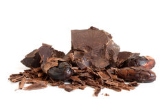 Kakaobohnen und -schokolade Stockbild