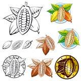 Kakaobohnesymbole Lizenzfreie Stockfotos