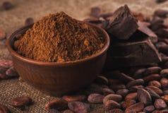 Kakaopulver i en brun keramisk bunke, rå kakaobönor i kissa royaltyfri bild
