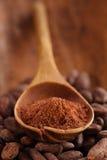 Kakaopulver i sked på grillad backgrou för kakaochokladbönor Royaltyfri Bild