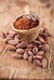 Kakaopulver im Löffel auf gebratenem Kakaoschokoladen-Bohnen backgroun Stockfotos
