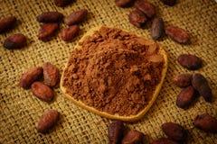Kakaopulver och kakaobönor på säckväv Arkivfoto