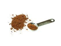 Kakaopulver och mätasked Arkivbilder