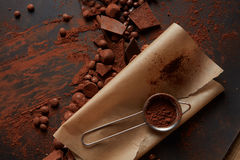 Kakaopulver på pergament Fotografering för Bildbyråer