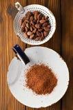 Kakaopulver und gebratene Kakaoschokoladenbohnen Lizenzfreies Stockbild