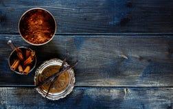 Kakaopulver, vanilj och kanel Arkivfoton
