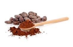 Kakaowe fasole i kakaowy proszek odizolowywający na bielu fotografia stock