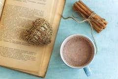kakaowi filiżanki starej książki cynamonowi kije i trykotowy serce zdjęcia royalty free