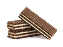 Kakaowi opłatki wypełniający z białą śmietanką zdjęcia stock