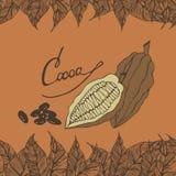Kakaowy horyzontalny bezszwowy wzór ilustracji