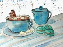 Kakaowy kubek z marshmallows i macaroons ilustracji