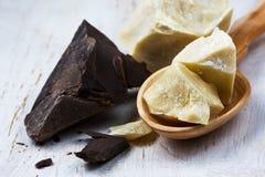 Kakaowy masło i kakao gromadzimy na białym tle Zdjęcia Royalty Free
