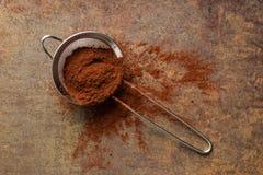 Kakaowy proszek w arfie Zdjęcie Stock